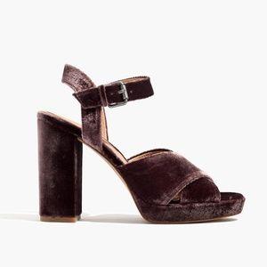 New Madewell block heel velvet platform sandals